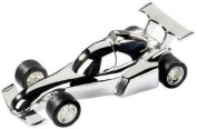 Silver Plated Racing / Formula 1 Style Car Money Box - Baby Boy Christening Gift