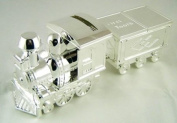* Silver Plated Train Money Box Tooth & Curl - Baby Christening Gift *