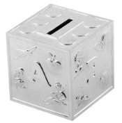 Christening Gifts. Silverplated ABCD Baby Cube Money Box