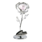 Crystocraft Rose Ornament With Special Mum Inscription & Inset. Crystal