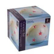 Snow White Ceramic Christmas Star Globe with Colour Changing Lights
