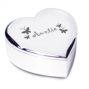 Auntie Silver Finish Heart Shaped Trinket Box Gift