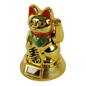 Solar Powered Fortune Cat LUCKY 15cm gold
