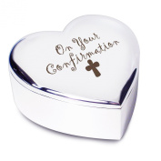 Confirmation with cross Silver Finish Heart Shaped Trinket Box Gift for Holy Confirmation