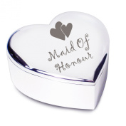 Maid of Honour with Hearts Motif Silver Finish Heart Shaped Trinket Box Gift for Wedding