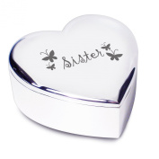 Sister Silver Finish Heart Shaped Trinket Box Gift for Sister