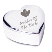 Mother of the Bride with Hearts Motif Silver Finish Heart Shaped Trinket Box Gift for Wedding