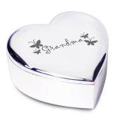 Grandma with Butterflies motif Silver Finish Heart Shaped Trinket Box Gift for Gran