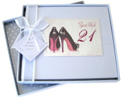 White Cotton Cards 21st Birthday Guest Book, Black Shoe