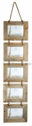 Chic & Shabby Rustic Natural Wooden Five Hanging Photo Frame Large 15cm x 10cm