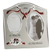 "Two Tone Silverplated Wedding Anniversary Gift Photo Frame - ""40th Ruby Anniversary"""