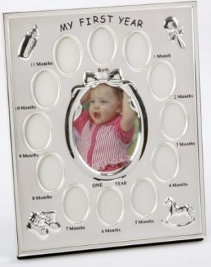 2 Tone Silver Plated 'My First Year' Frame with 12 month inserts