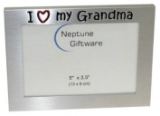 ' I Love My Grandma ' - Photo Picture Frame Gift - 13cm x 8.9cm - Brushed Aluminium Satin Silver Colour
