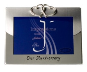 Our Anniversary Silver Plated Landscape Photo Frame with Interlinking Hearts Detail