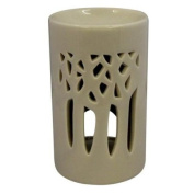 Tonal Oil Burner Tall Style with Carvings - Light Tone Neutral Beige Grey