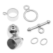 BeadSmith Silver Plated Bullet Findings Kit For Kumihimo Braids - Fits 8mm Cord