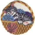 Natura Latch Hook Kit 60cm Round-Cat Nap