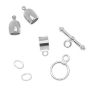 BeadSmith Silver Plated Bullet Findings Kit For Kumihimo Braids - Fits 6mm Cord