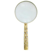 10cm Magnifying Glass Brass Handle Mother of Pearl Inlay x 2.5 magnification