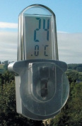 Outdoor Window Thermometer Suction pad mounted on the outside of a window - large, clear LCD display - GVC