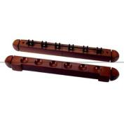 6 Cue Wooden Rack & Clips, Mahogany