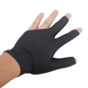 Professional Billiard Left Hand Three Finger Open Fingertip Glove---Black