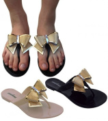 WOMENS LADIES BOW DIAMANTE JELLY FLAT BEACH SUMMER FLIP FLOP TOE POST THONG SANDALS SIZE 3 4 5 6 7 8