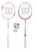2 x Wilson Hyper Zone Badminton Rackets + 3 Shuttles