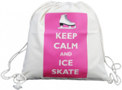 Keep Calm and Ice Skate - Canvas Drawstring Rucksack - Pink design