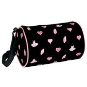Danshuz Girls Black Duffel Dance Bag Tutu Hearts Toe Shoes Accessory