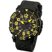INFANTRY INFILTRATOR Mens Wrist Watch Sports Black Dial Yellow Analogue Display Rubber Strap Rotating Bezel New #IF-006-Y-R