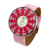 Pink Faux Leather Dot Band Round Dial Quartz Wrist Watch