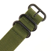INFANTRY G10 5 Rings Military Green ZULU Watch Band Fabric Nylon Strap Black Hardware 22mm Strong Divers #WS-ZULU-BG-22M