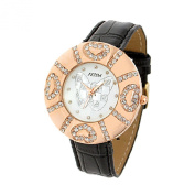 Fashion Jewellery Black Faux Leather Strap Round Watchcase Quartz Watch