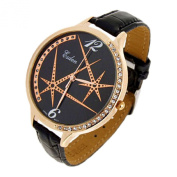 Universe Round Faced Black Strap Ladies Quartz Watch