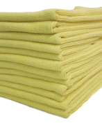 Dri Professional Extra-Thick Microfiber Cleaning Cloth - 41cm x 41cm - 12 Pack (Yellow) - Ultra-absorbent, quick drying, chemical-free cleaning