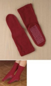 Home-X Women Adult Soft Knit Gripper, Non Skid Slippers Socks. One Size Fits All. Red