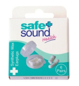 Safe & Sound Wax Ear Plugs 6 Pairs Per Pack