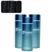 3 Pack Special - XFusion Keratin Hair Fibres - Black - Thickens Balding or Thin Hair - 25g