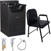 Salon Shampoo Bowl Storage Cabinet with Chair Package SU-P4BLK