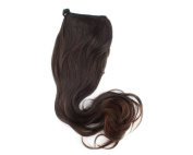 Dark Brown Lady Clip on Ponytail Hair Wigs Wave Pony Extension Hairpiece 40CM 3B
