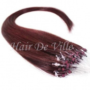25 Strands 60cm Long Micro Loop Ring Beads I Tip Human Hair Extensions Colour # Dark Red 0.8g Each Strand