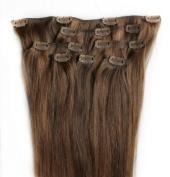 Full Head 60cm 100% REMY Human Hair Extensions 7Pcs Clip in #4/30 Brown Auburn