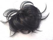 HAIR EXTENSION SCRUNCHIE JET BLACK UP DO DOWN DO SPIKY TWISTER
