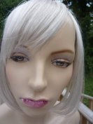 ONE PIECE CLIP IN FRINGE BANGS HAIRPIECE SILVER GREY VERY REAL LOOK