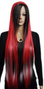 Yazilind Fancy-Dress Cosplay Long Red Black Mix Straight Synthetic Hair Full Wig