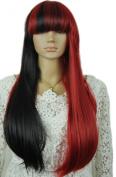 Yazilind Long Half Black Half Red Full Bangs Straight Cosplay Synthetic Hair Full Wig