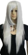Yazilind Smoke Grey White Long Straight Hair Full Cosplay Anime Costume Wig