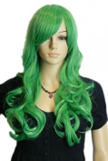 Yazilind Long Curly Wavy Bright Green Ramp Bang Full Hair Cosplay Anime Costume Wig