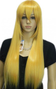 Yazilind Blonde Yellow Long Straight Synthetic Hair Full Costume Wig